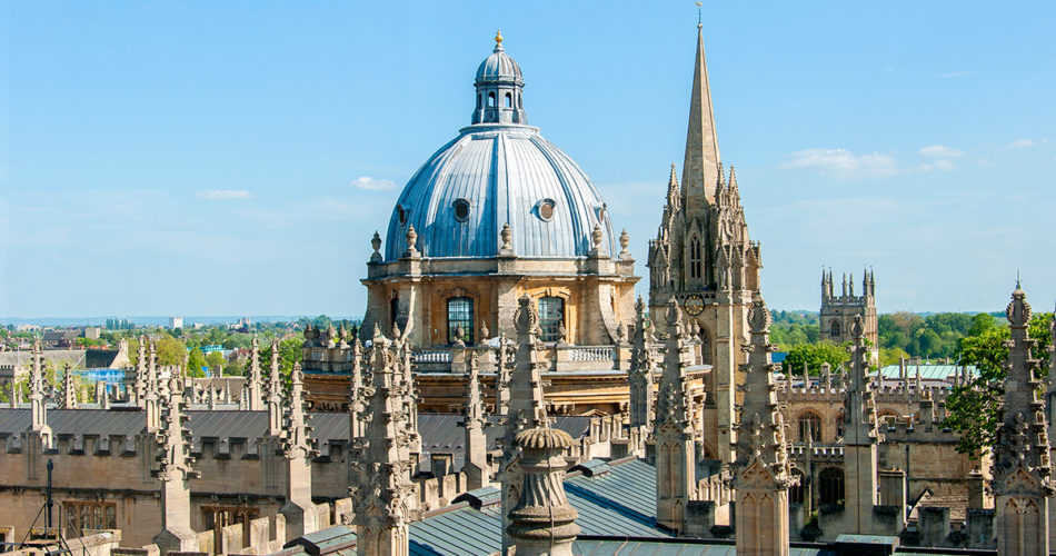 This image shows the view from the Sheldonian Theatre cupola over the Oxford skyline