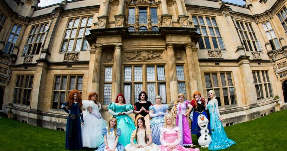 This is an image of people in fancy dress at a festival held at the Examination Schools