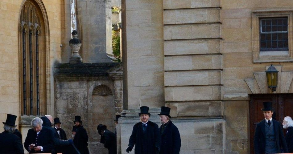 Eddie Redmayne filming The Aeronauts on location outside the Sheldonian Theatre, Oxford