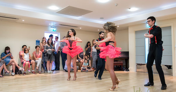 A salsa dance display at a party held at Osler House
