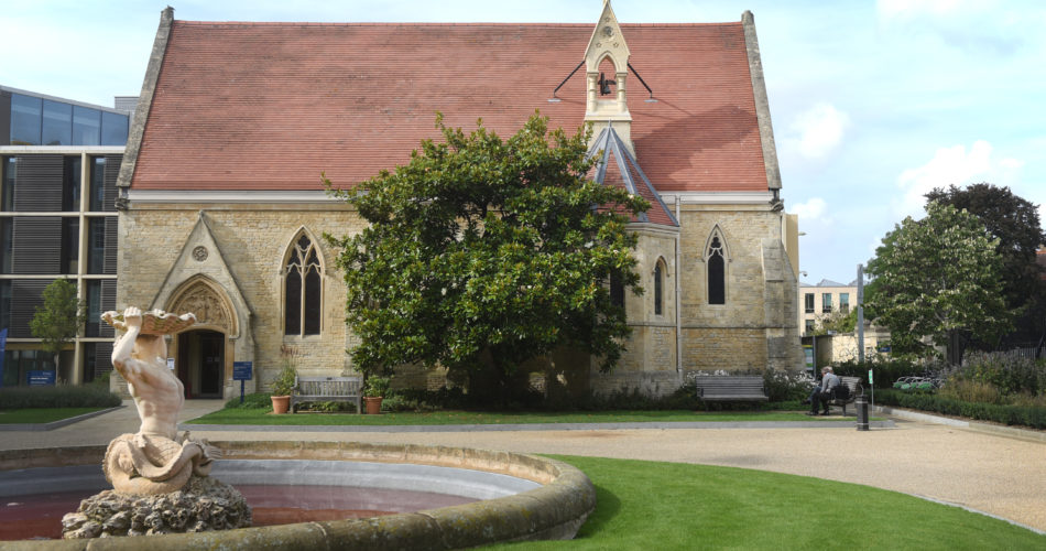 This is an image of St Luke's Chapel from the outside a beautiful Oxford venue