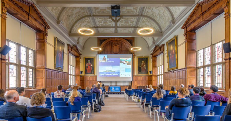 Examinations Schools venue in Oxford set up for lecture and talk