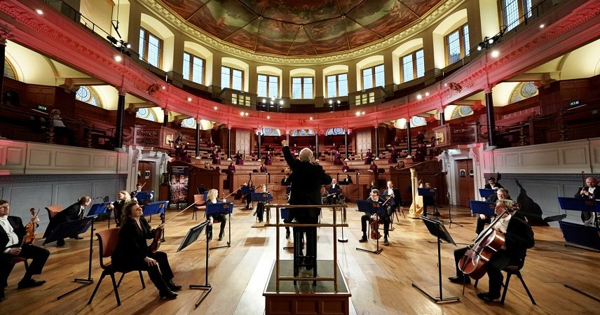 Image of a concert with social distancing at Sheldonian Theatre